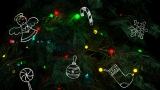 Christmas Tree With Doodles Motion Background