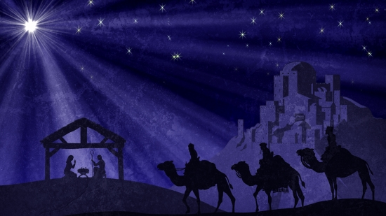 Wisemen And Manger And Bethlehem And Christmas Star Still