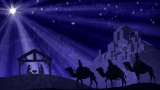 Wisemen And Manger And Bethlehem and Christmas Star Background