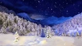 Christmas Snow with Blue Christmas Tree
