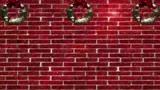 Red Brick Wall Snowy Wreaths